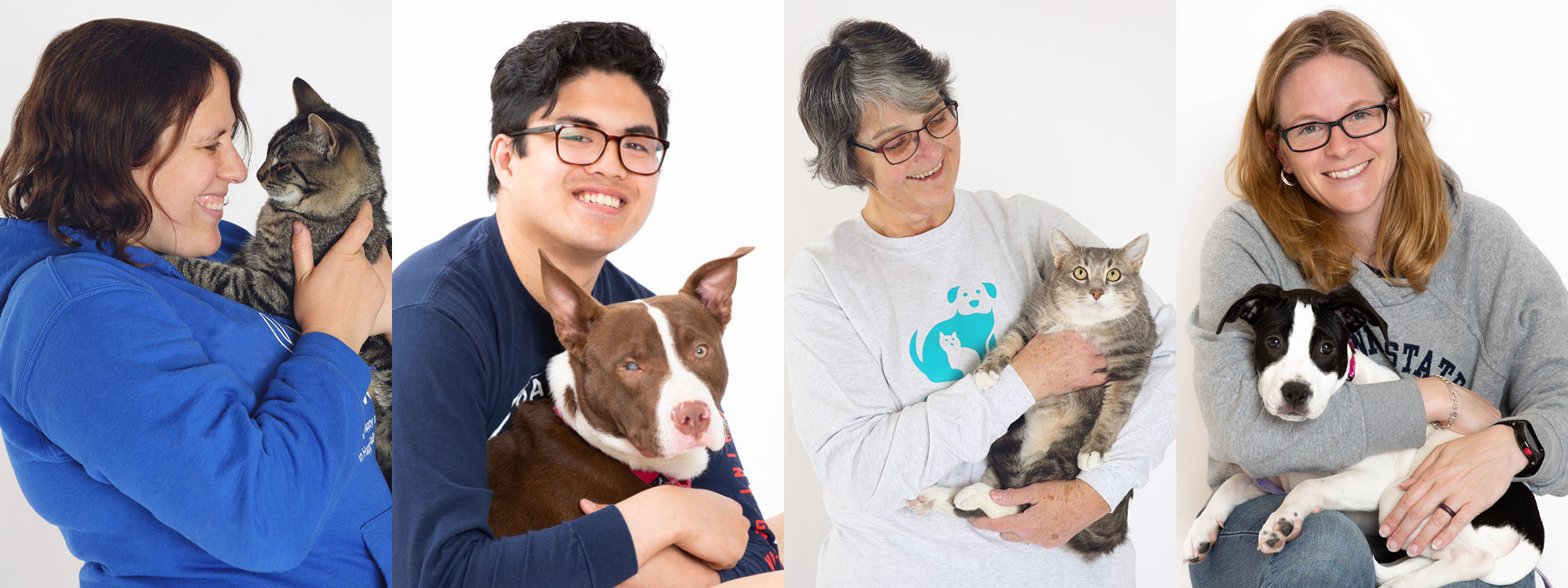Collage of people holding animals in their arms